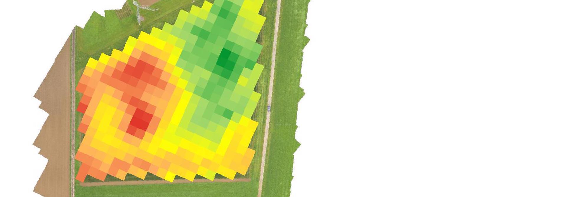 Vegetationsindex aufgrund von Bildern des Sentinel-2 Satelliten berechnet. >