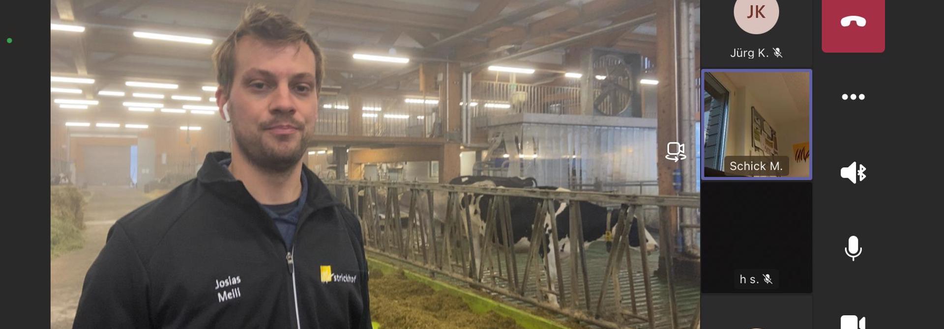 Die Teilnehmenden des Online-Fachnachmittags konnten bequem von zu Hause Josias Meilis interessantes Referat zum Thema u00abFu00fctterung Silobetriebu00bb anhu00f6ren und ihm in den Milchviehstall von AgroVet-Strickhof folgen. Bild: Strickhof>