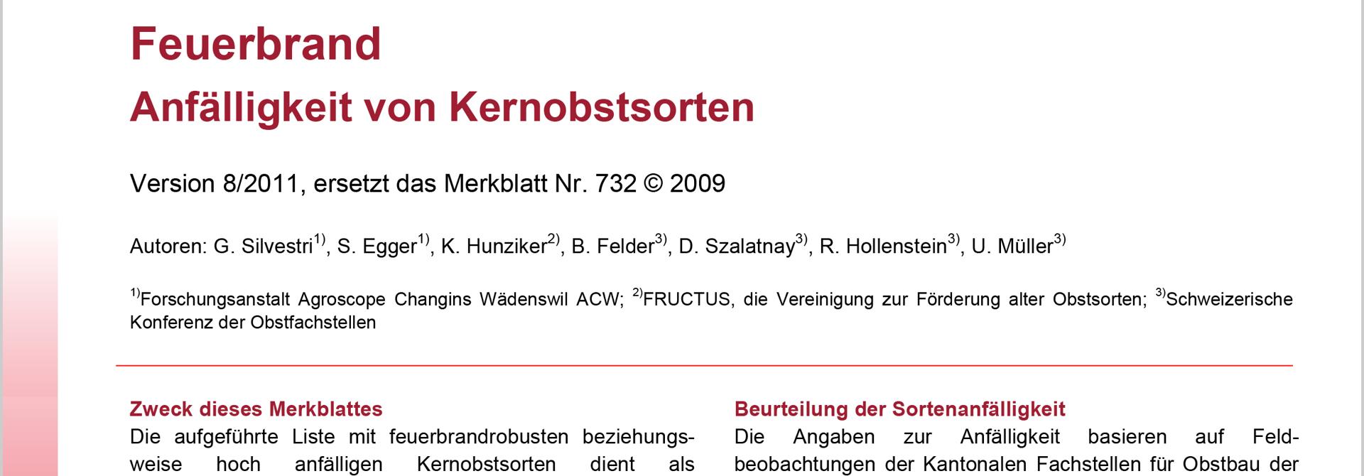 Feuerbrand-Anfu00e4lligkeit von Kernobstsorten (Agroscope, 2011)>