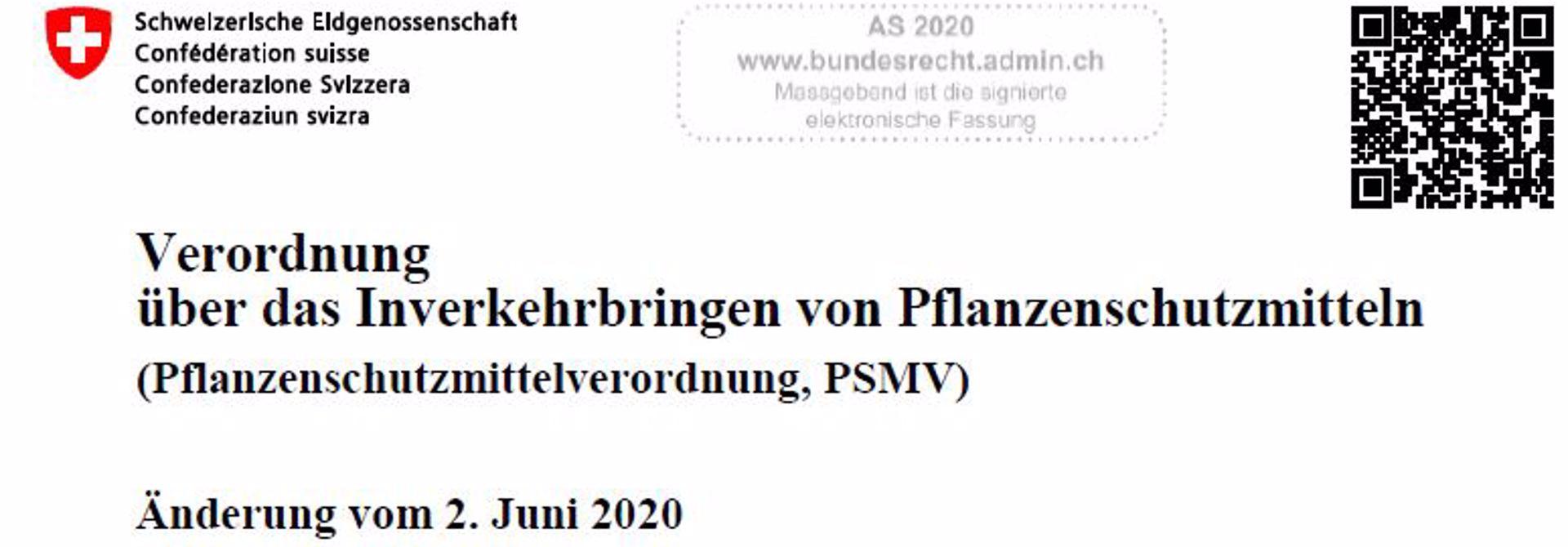 u00c4nderungen der Pflanzenschutzmittel-Verordnung 2.7.2020>