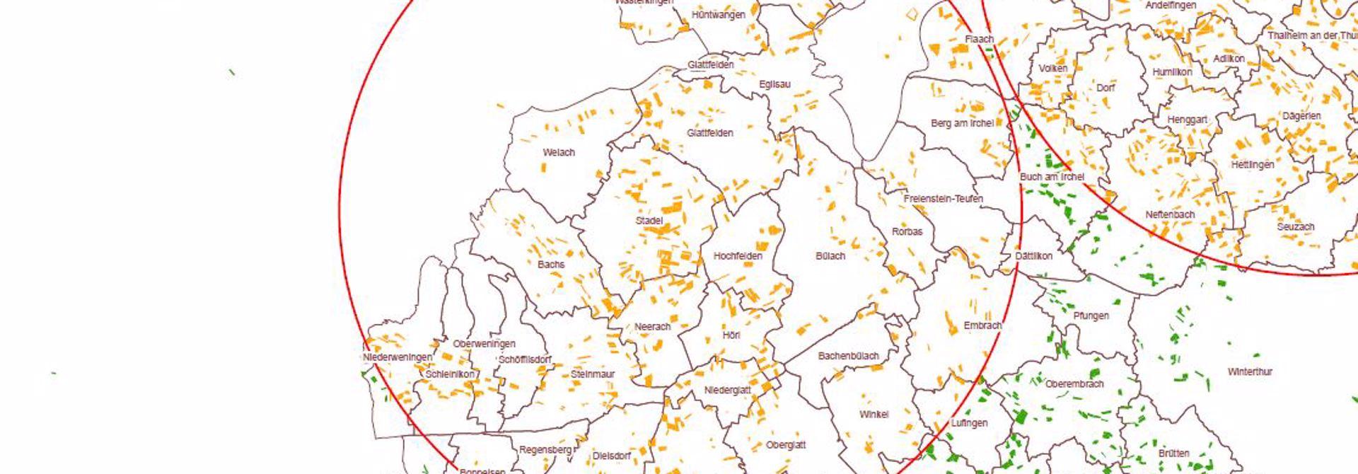 Betroffene Gemeinden rund um den Fallenstandort in Stadel.>