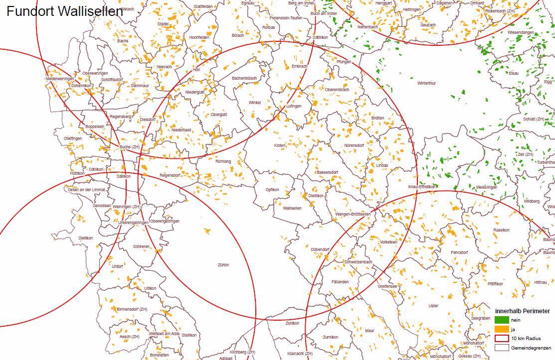 Betroffene Gemeinden rund um den Fallenstandort in Wallisellen.