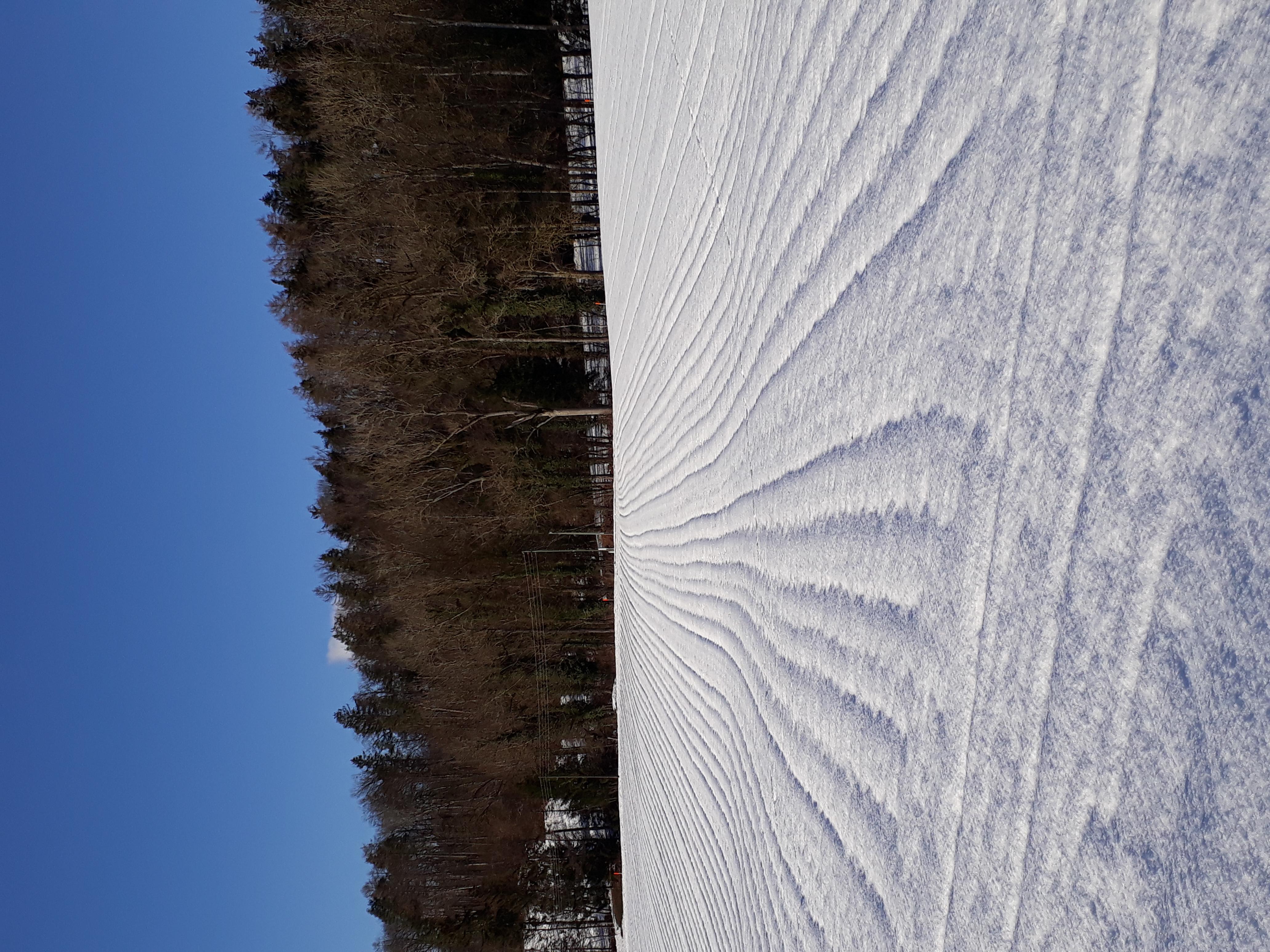 Die weiten Reihen sind auch bei Schnee sichtbar