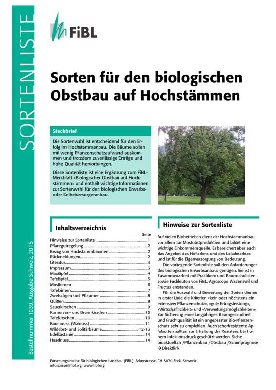 Sortenliste Hochstamm (FiBL, 2015)