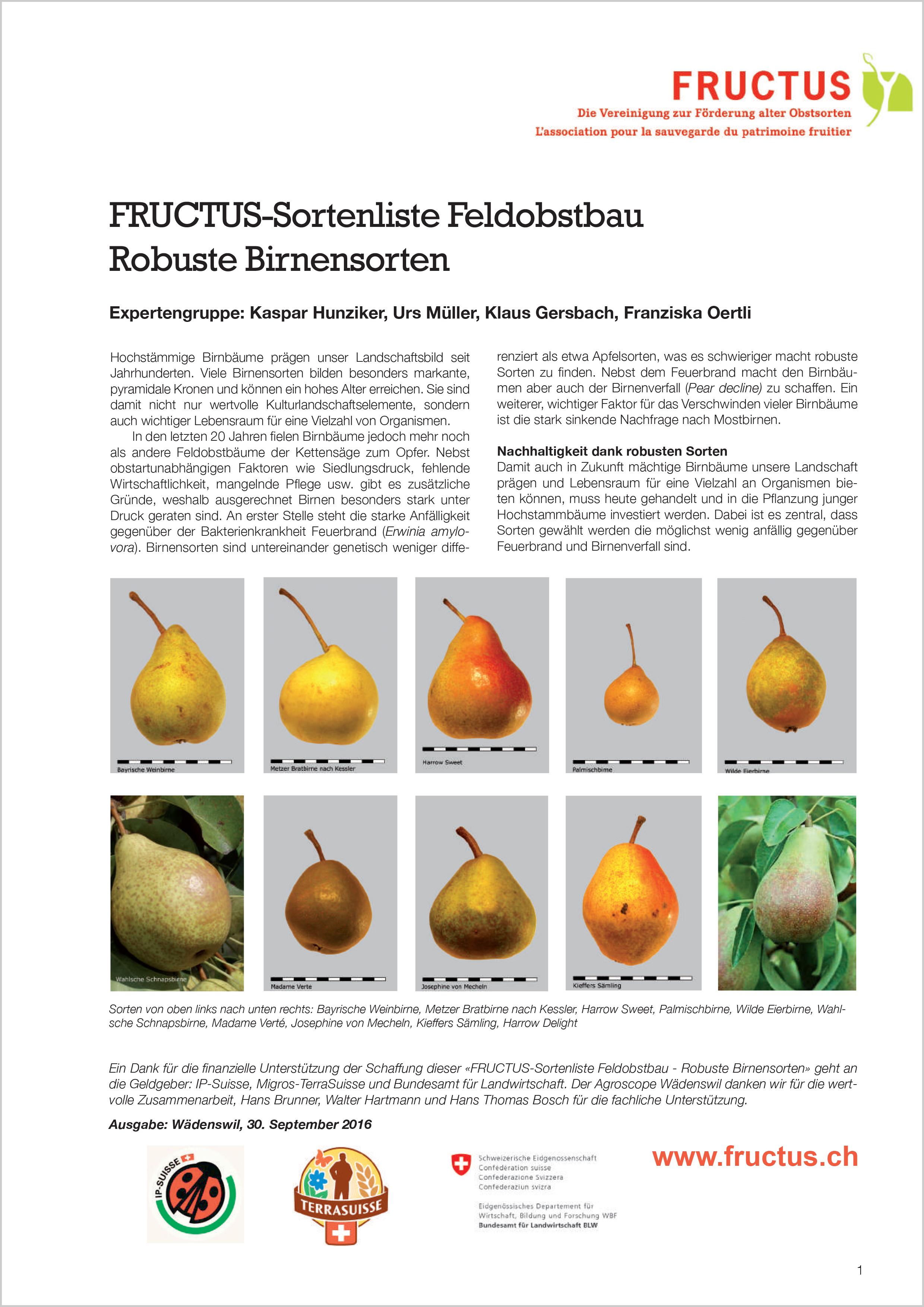 FRUCTUS-Sortenliste Feldobstbau: Robuste Birnensorten (2016)