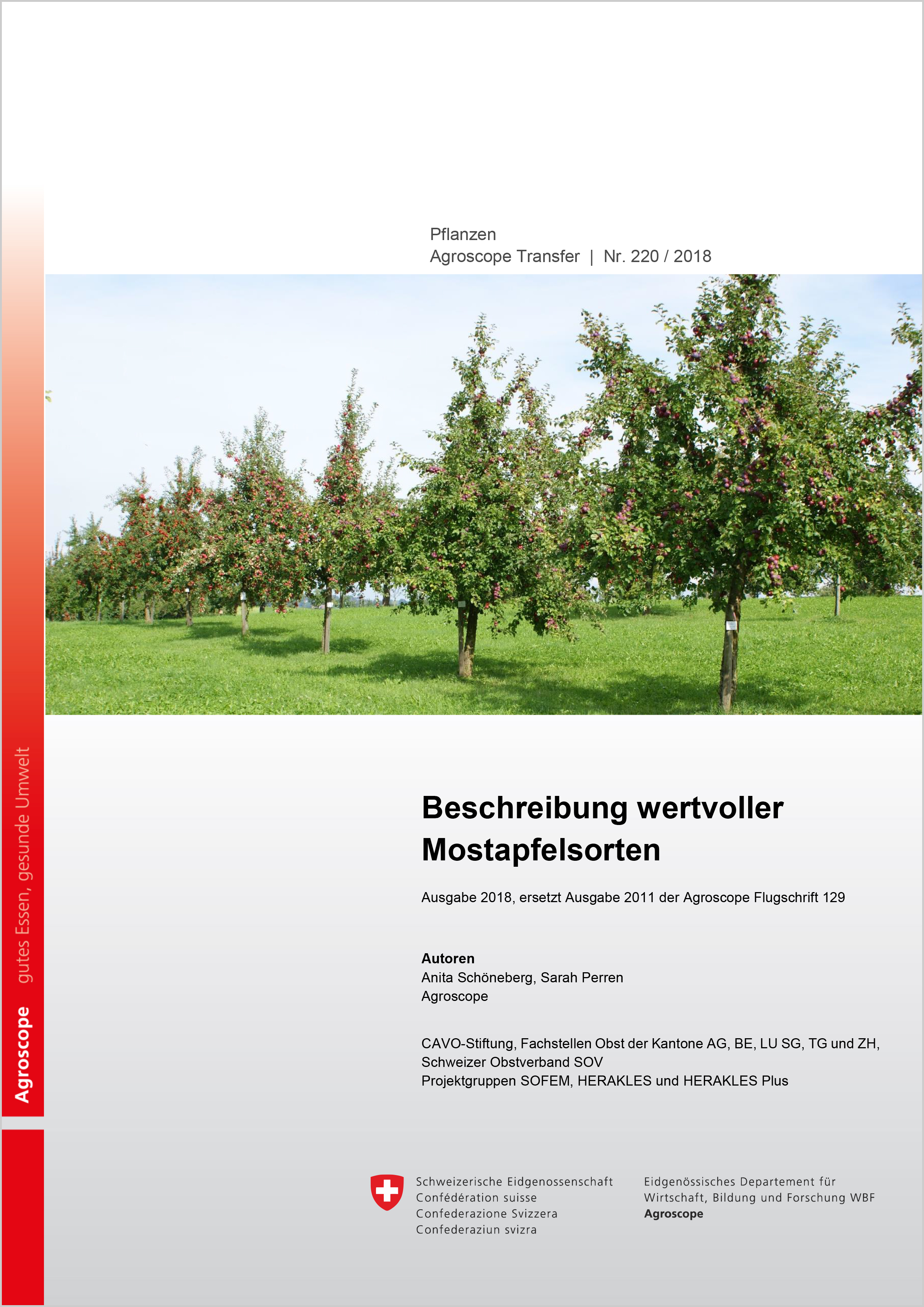 Beschreibung wertvoller Mostapfelsorten (Agroscope, 2018)