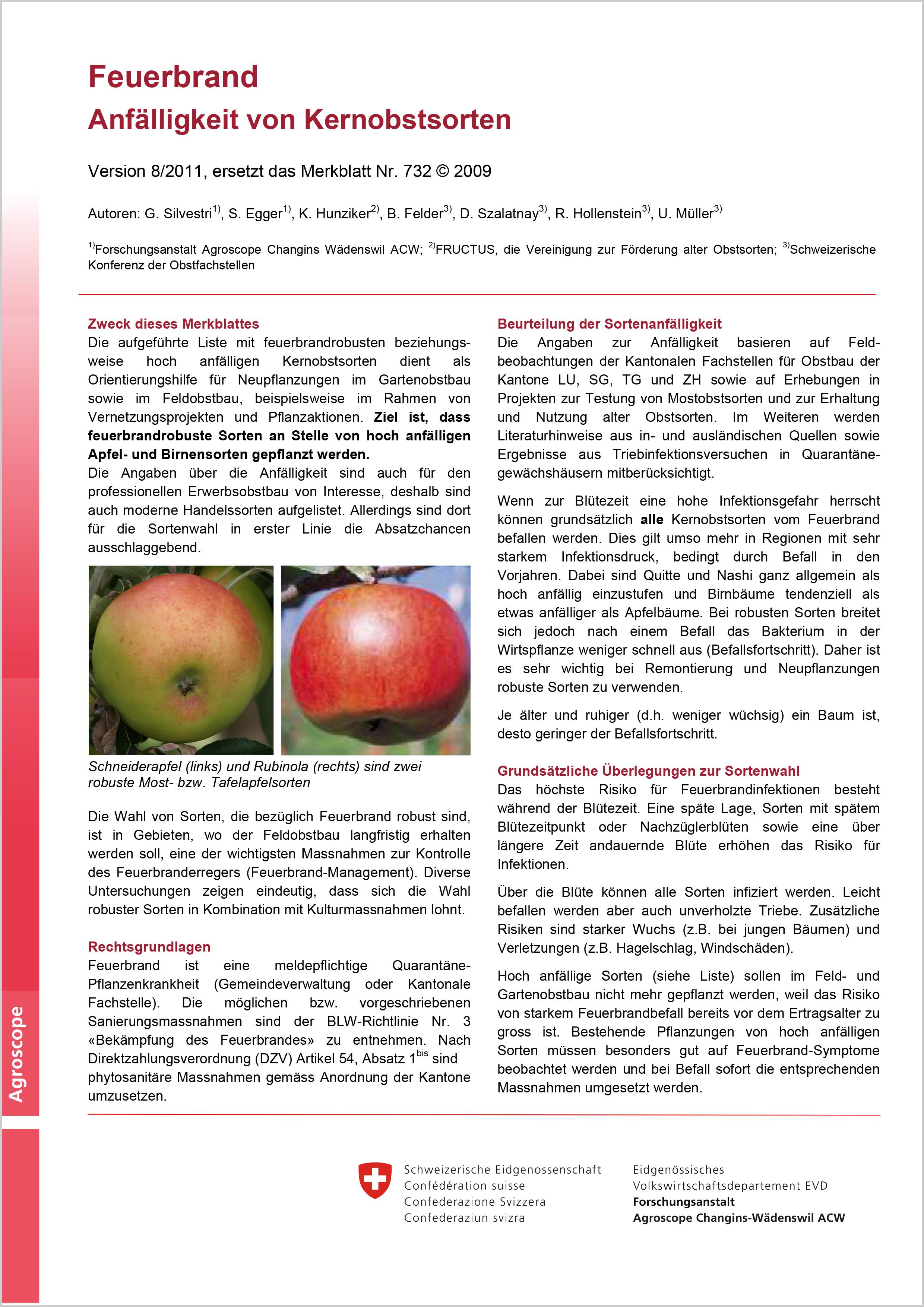 Feuerbrand-Anfälligkeit von Kernobstsorten (Agroscope, 2011)