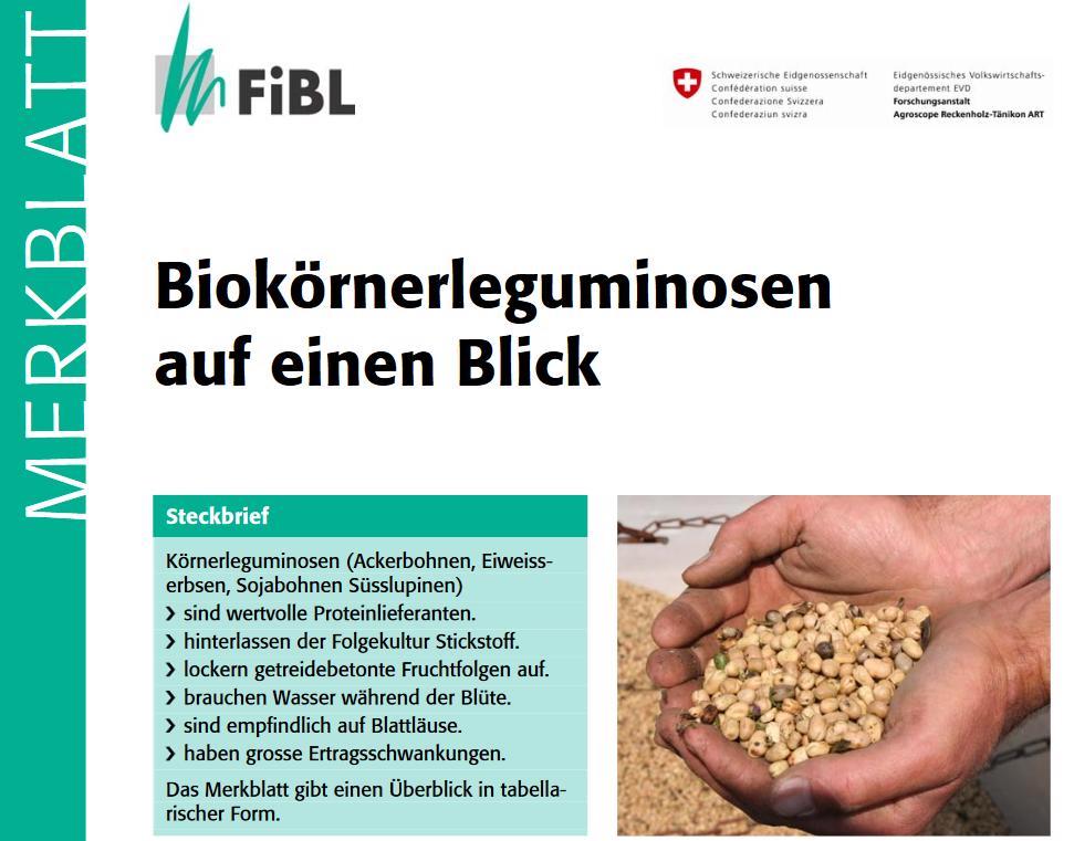 FiBL Merkblatt Biokörnerleguminosen