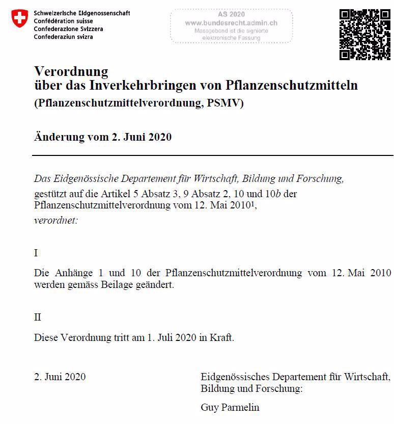 Änderungen der Pflanzenschutzmittel-Verordnung 2.7.2020